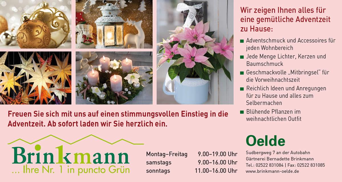 Stimmungsvolle Adventzeit bei der Gärtnerei Brinkmann in Oelde